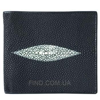 Мужской кошелек из кожи ската (ST 04 Black Matte)