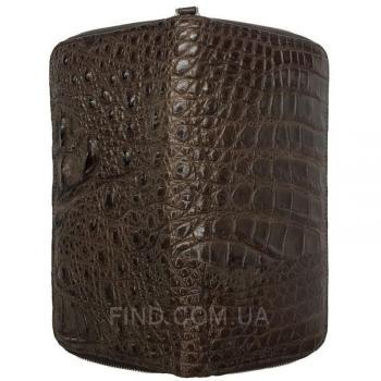 Купюрник на молнии из натуральной кожи крокодила (ZAM 11 EX TH Brown)