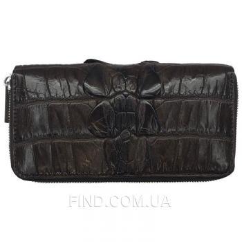 Купюрник на молнии из натуральной кожи крокодила (ZAM 11 EX BT Brown)