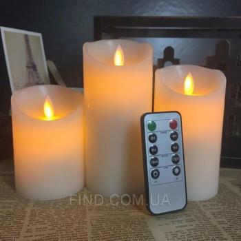 Светодиодные свечи с имитацией пламени и пультом ДУ (набор 3 шт.) R5-0040
