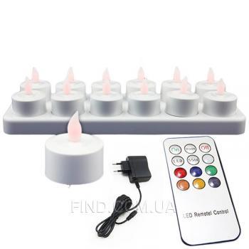 Светодиодные многоцветные led свечи чайные с аккумулятором и пультом ДУ (набор 12 шт.)