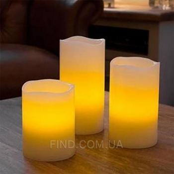 Светодиодные led свечи с эффектом задувания (набор 3 шт.)