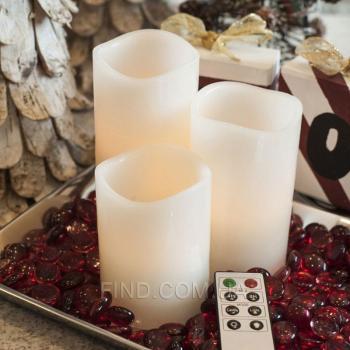 Светодиодные свечи с пультом ДУ белые (набор 3 шт.)