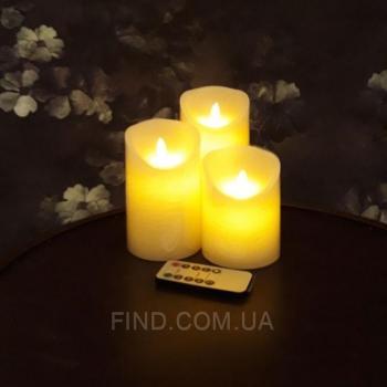 Светодиодные свечи с имитацией пламени и пультом управления (набор 3 шт.) R5-0107