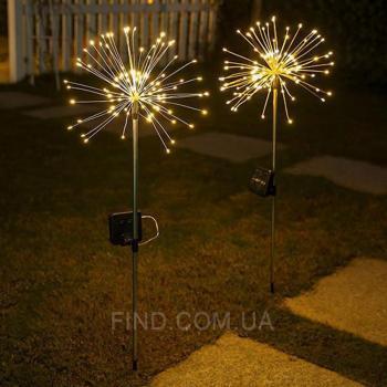 """Светодиодный светильник на солнечной батарее """"фейерверк"""" 150 LED WARM"""