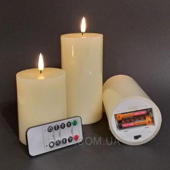 Светодиодные свечи с 3D эффектом и пультом ДУ (набор 3 шт.)