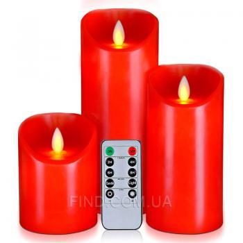 Светодиодные свечи с имитацией пламени и пультом ДУ, Red (набор 3 шт.)