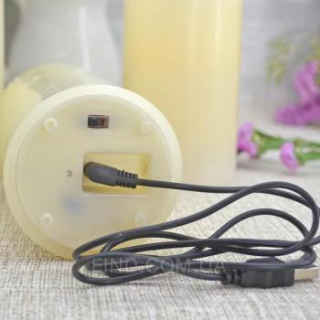 Светодиодные свечи с имитацией пламени и встроенным аккумулятором (набор 3 шт.)