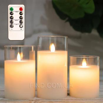 Светодиодные свечи с имитацией пламени и пультом управления (набор 3 шт.)