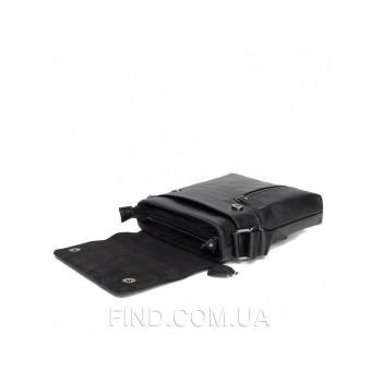 Черный кожаный мессенджер Tiding Bag (A25-238-1A)