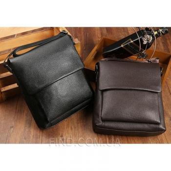 Черный кожаный мессенджер Tiding Bag (A25-1278A)
