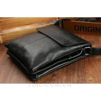 Черный кожаный мессенджер Tiding Bag (A25-064A)