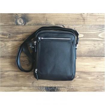Черный кожаный мужской мессенджер Tiding Bag (M5608-1A)