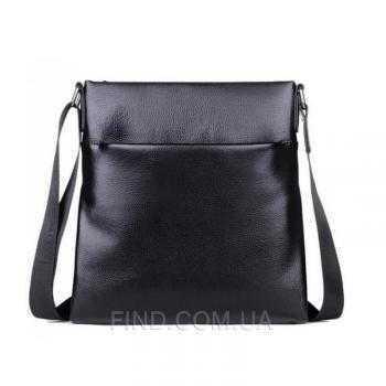 Черный кожаный мессенджер Tiding Bag (A25-8850A)