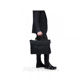 Черная кожаная мужская сумка Tiding Bag (T1096A)