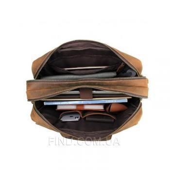 Коричневая кожаный мужская сумка Tiding Bag (t29523)